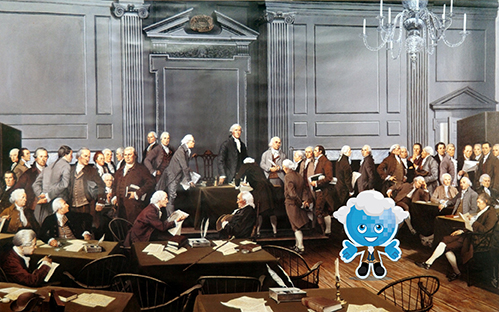 Image of Rio Salado Mascot Splash keyed into a vintage painting of the signing of the Constitution