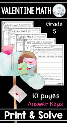 Math worksheets for Valentine's Day. This set designed for fifth grade features fun facts about chocolate on each page! #elementary #math #5thgrade