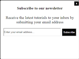 Popup email subscription box widget for blogger