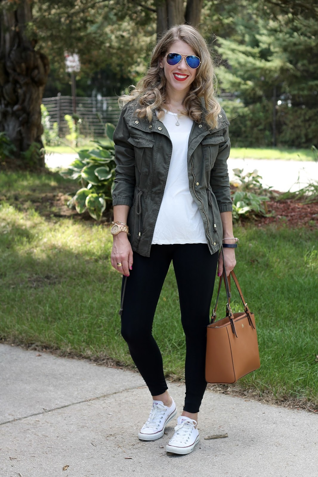 athleisure look with leggings, sweetflexx leggings review, leggings, olive utility jacket, white tee, Tory Burch tote