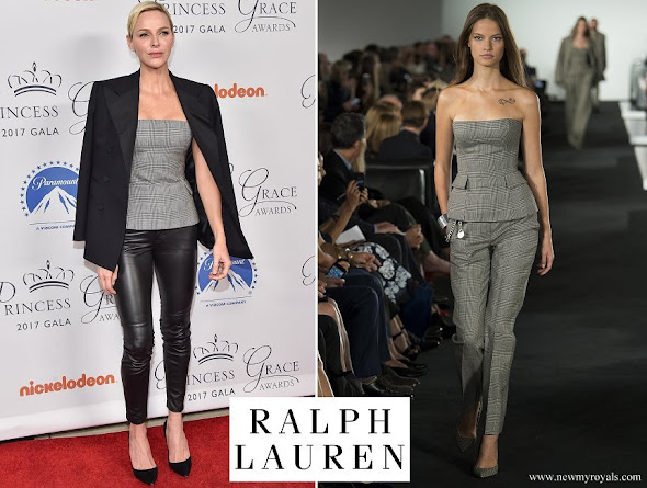 Princess Charlene wore Ralph Lauren Blaine Glen Plaid bustier blouse