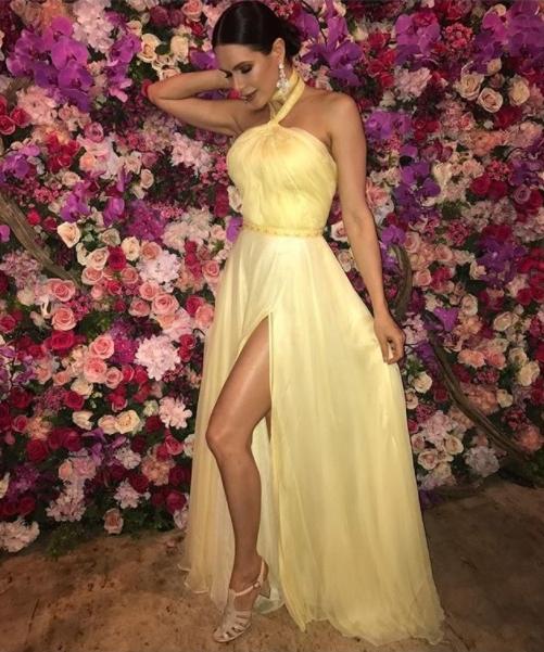 vestido de festa amarelo