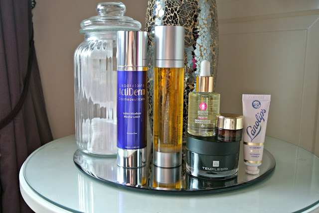 Anti-Ageing Evening Skincare Routine for Oily, Dehydrated Skin Image Featuring Acti-Labs, Manuka Doctor, Elemental Herbology, Lanolips, Temple Spa, Estee Lauder