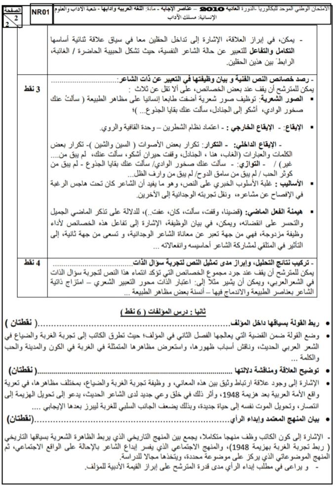الامتحان الوطني الموحد للباكالوريا | الدورة العادية 2010؛ مادة اللغة العربية، مسلك الآداب