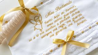 Toalha de Batismo Bordada Oração Anjo