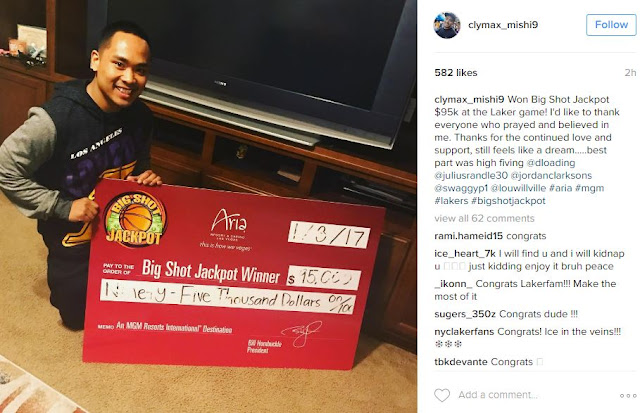 This Pinoy Lakers Fan Nailed A Half-Court Shot and Won $95,000! WATCH HERE!