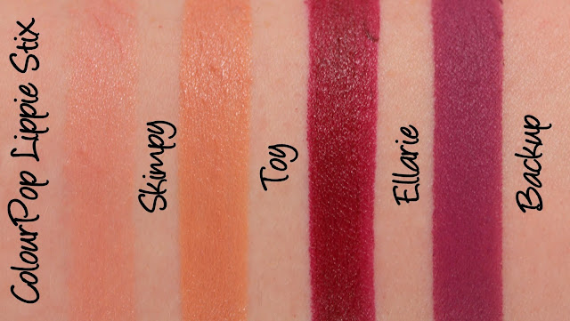 ColourPop Lippie Stix - Skimpy, Toy, Ellarie, Backup and Kiddo Swatches & Review