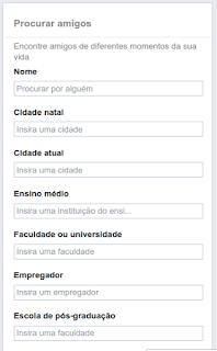 Procurar amigos no Facebook pela empresta escola universidade nome