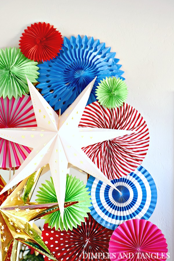 party fans, paper rosettes, 3D stars, ikea, party decorations, unusual christmas decorations