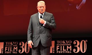 "Former US vice president Al Gore delivers his speech during the closing ceremony of the Tokyo International Film Festival in Tokyo on November 3, 2017. Gore's latest movie, ""An Inconvenient Sequel: Truth to Power"" was chosen as the closing film at the film festival. (Photograph Credit: Toshifumi Kitamura/AFP/Getty Images) Click to Enlarge."