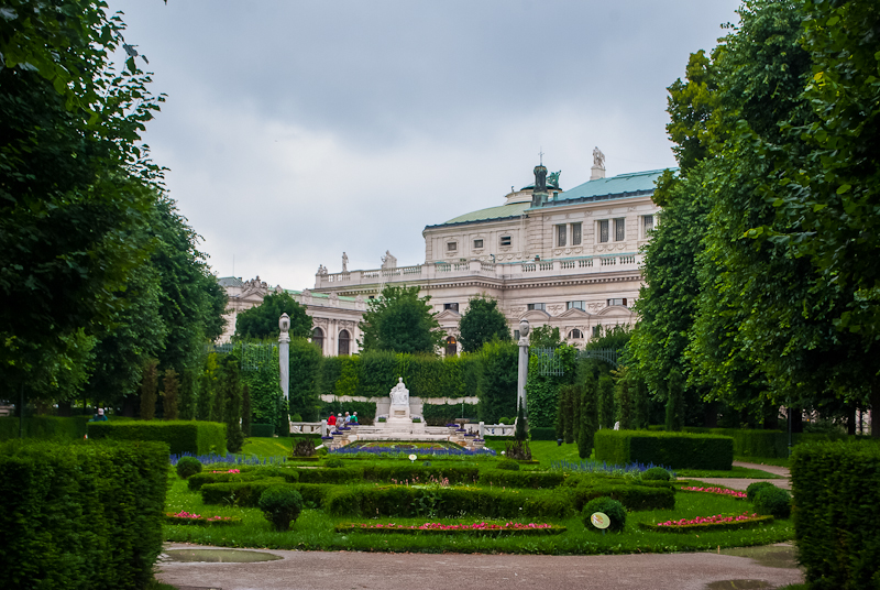 The beautiful heldenplatz park in Vienna, Austria and it's flowers, greenery and architecture