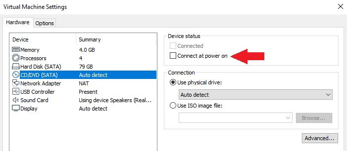 Disable Auto Connect CD or DVD ROM on VMware