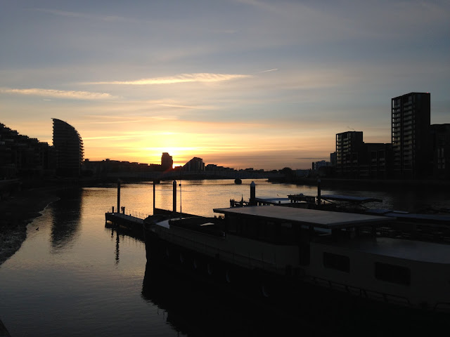 River Thames, looking west into the setting sun