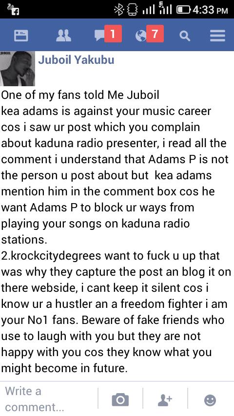 Was KEA ADAMS High on WEED when he went berserk on FACEBOOK???