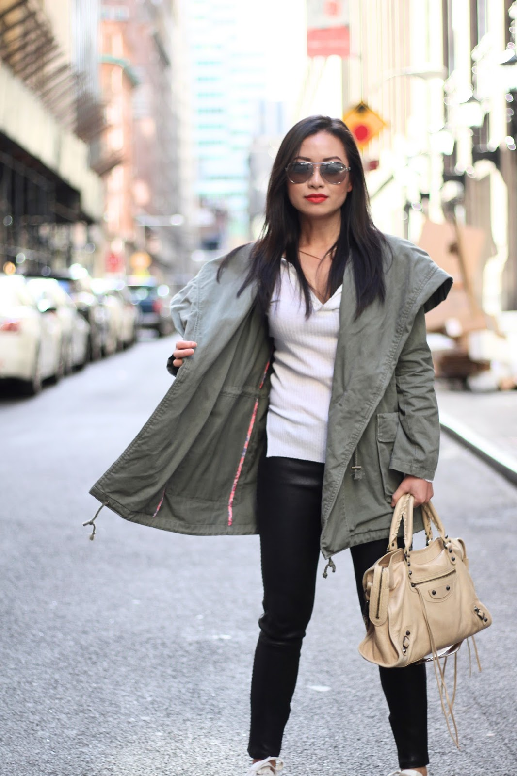snapshots of my closet fashion blogger in utility jacket and suede sneakers for spring fashion