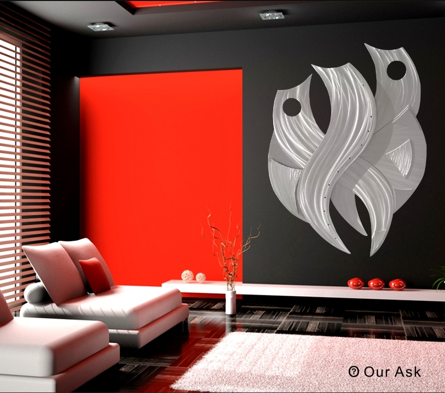 Metal Wall Decor For Bedroom : Eye catching abstract metal wall sculpture our ask
