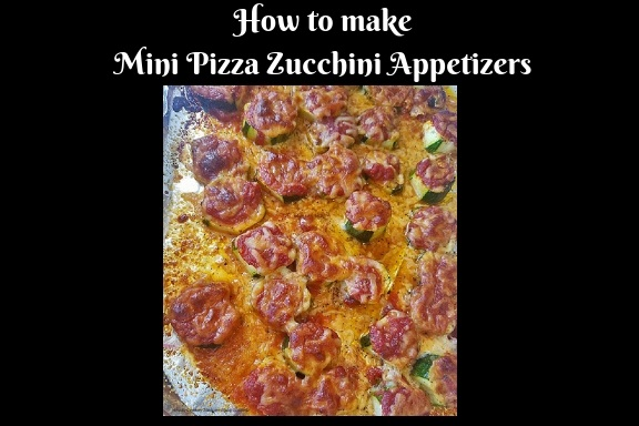 Sliced thick zucchini made into mini pizza with sauce and mozzarella on topped then baked