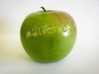 """Maçã verde com cortes escrito na casca """"patience""""."""