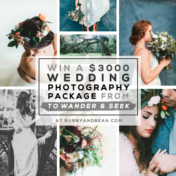 GIVEAWAY // Win a $3,000 Wedding Photography Package from To Wander & Seek and Bubby & Bean!