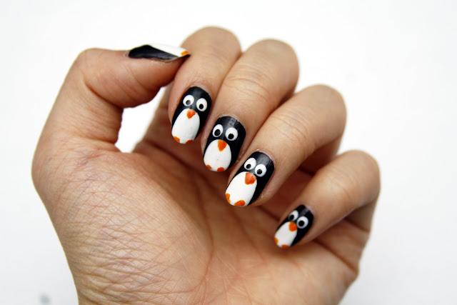 Fun Size Beauty Manimonday Penguin Nail Art Holiday 2015