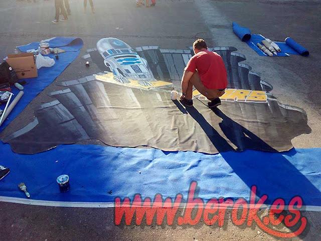 proceso graffiti 3d en el suelo