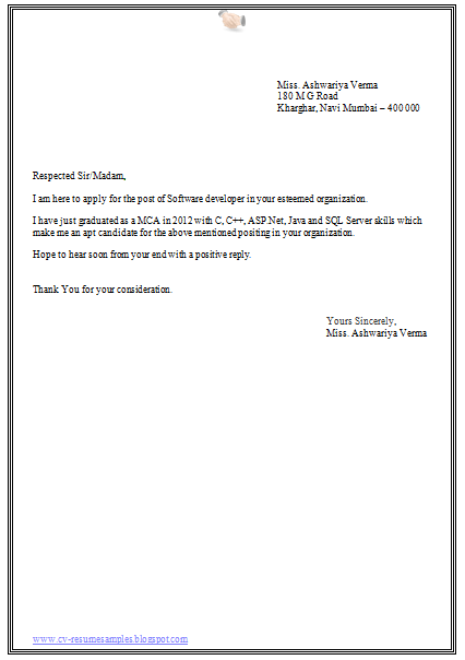 Best Cover Letter For Engineering Freshers