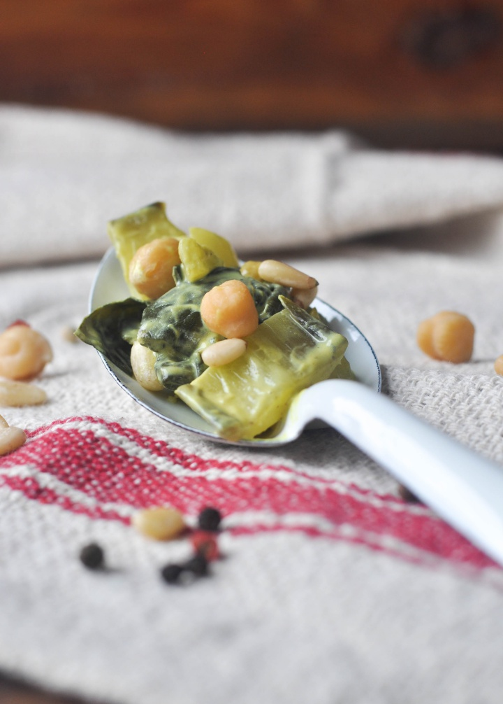 Creamy Sautéed Swiss Chard with Chickpeas, a delicious side dish or low carb main (and it's gluten free, too!)