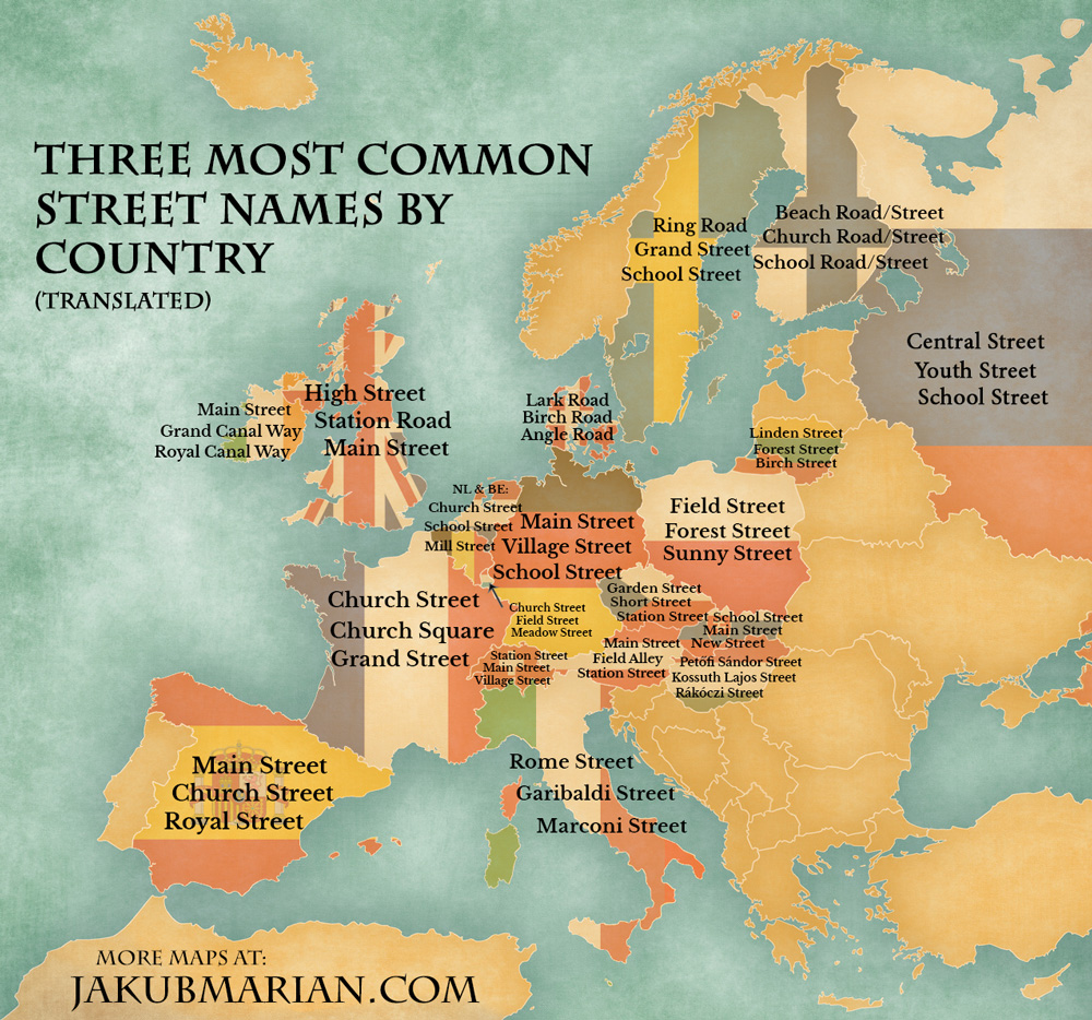 Three most common street names by country (translated).