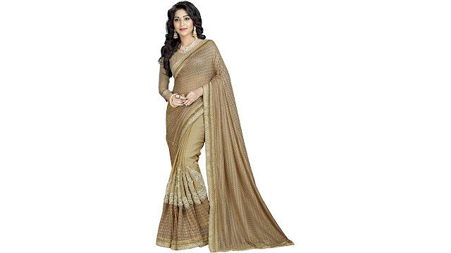 Aarti Apparels Embroidered Bollywood Net, Lycra Saree  (Gold)