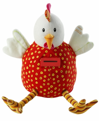hen-shaped soft toy money box