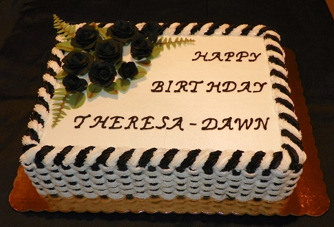 An Over The Hill Cake Done In Black And White Is Red Velvet With Cream Cheese Icing Filling Buttercream Basket Weave