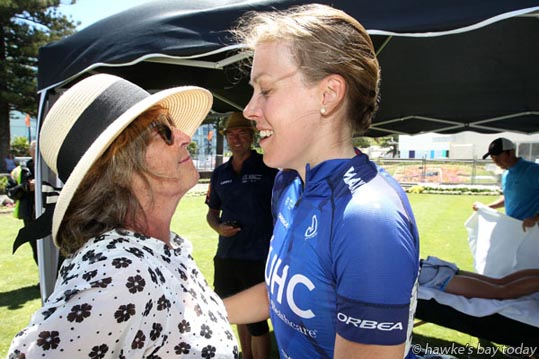 L-R: Viv Buchanan, mother, Rushlee Buchanan, winner, women's road race, Elite Road National Cycling Championship, Summer Cycling Carnival, finish line on Marine Parade, Napier. photograph