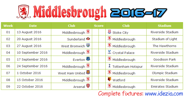 Download Jadwal Middlesbrough FC 2016-2017 File PDF - Download Kalender Lengkap Pertandingan Middlesbrough FC 2016-2017 File PDF - Download Middlesbrough FC Schedule Full Fixture File PDF - Schedule with Score Coloumn