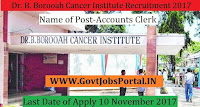 Dr. B. Borooah Cancer Institute Recruitment 2017–Accounts Clerk