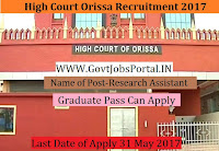 High Court Orissa Recruitment 2017– Research Assistant