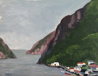 Painting of the harbour at Francois in Newfoundland