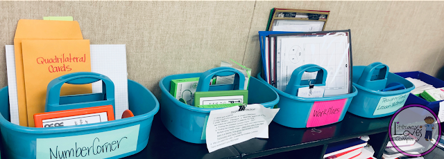 Organizing materials for your W.I.N. Block math stations can be a challenge.  Get some  management ideas from Literacy Loves company.
