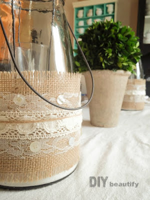 Easy burlap and lace jars at diy beautify