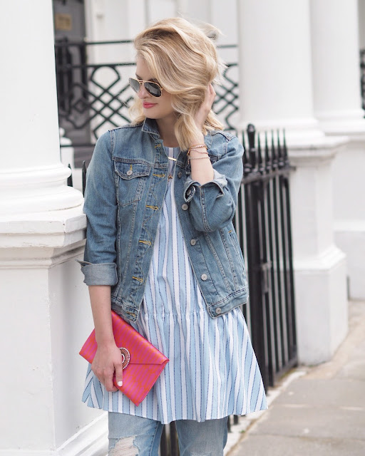 ray ban sunglasses, bonde hair, blonde bob, errol douglas, peplum top, denim jacket, denim on denim, wilbur and gussie, pink clutch, casual chick
