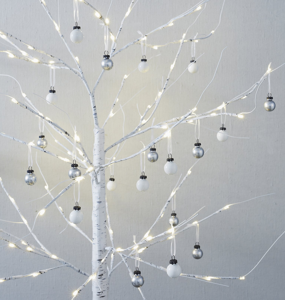 The White Company Mini Glass Baubles-Set of 20 - Silver