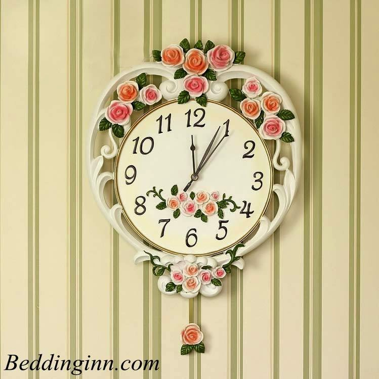 European Style Beautiful Pink Roses and Leaves Design Wall Clock