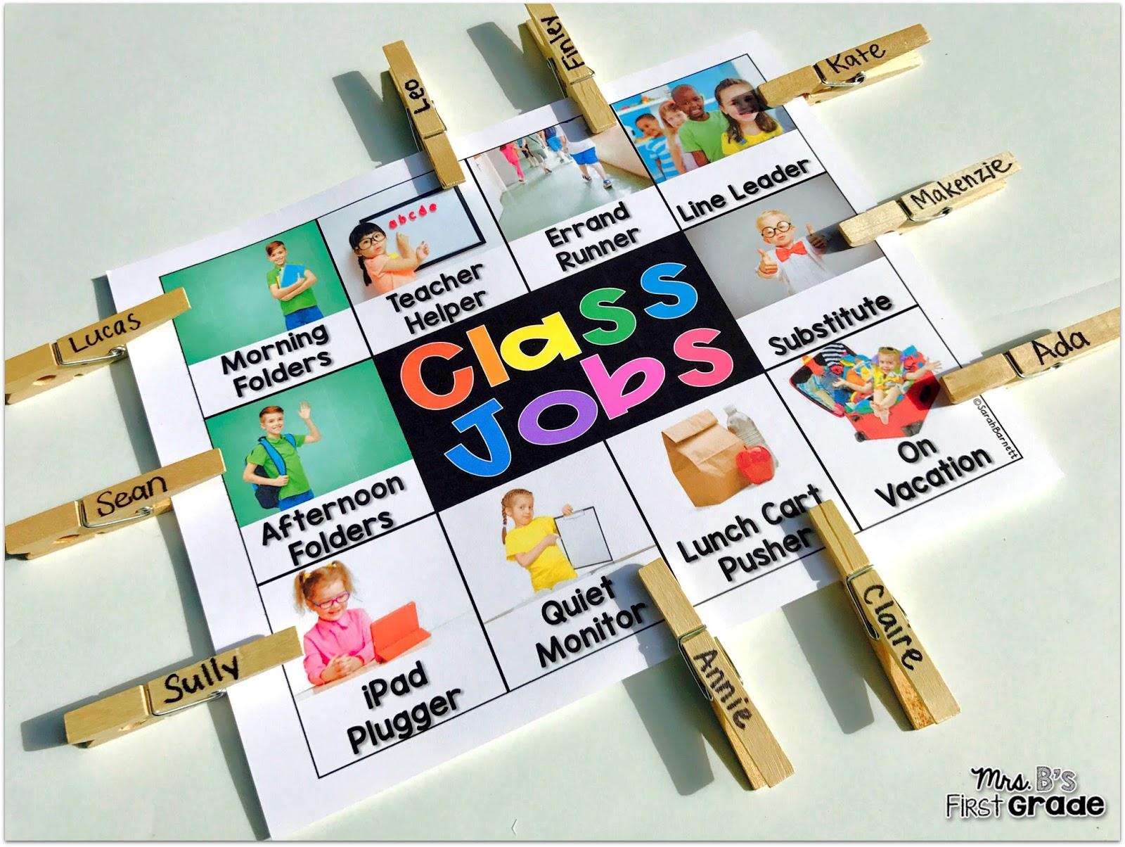 First Grade Classroom Jobs