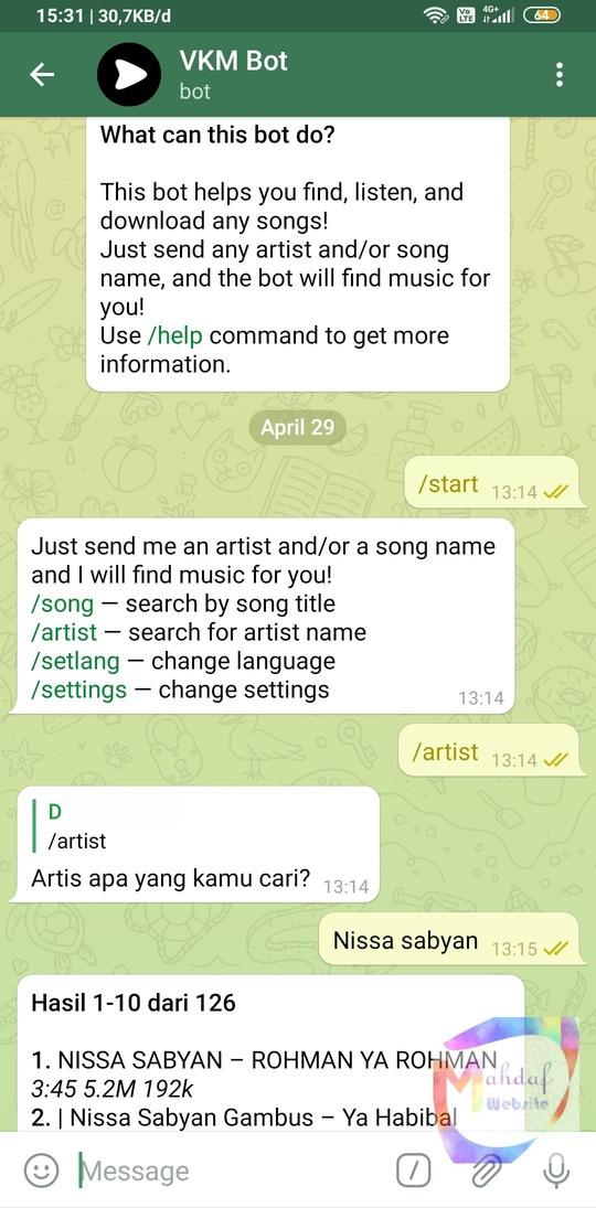 Bot telegram untuk cari musik