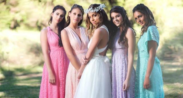Robes demoiselles d'honneur longues colorées