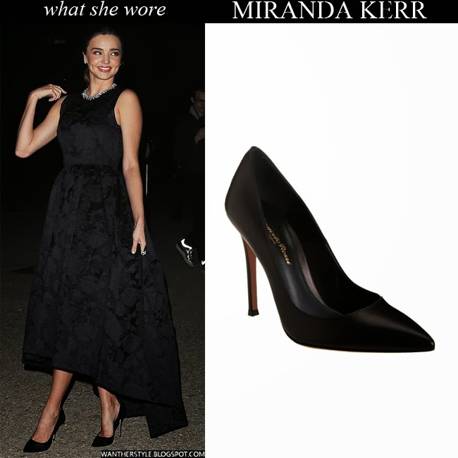 d21e69b632d Miranda Kerr in black dress with black pointed toe pumps Want Her Style