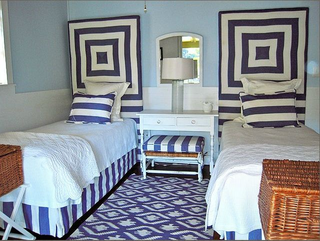guest room decorating blue and white stripes