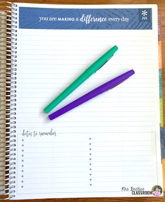 Photo of Erin Condren Teacher Planner month planning page