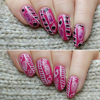 Messy Mansion Merry Christmas with Moyou London White Knight over HJ Manicure Candy Pink