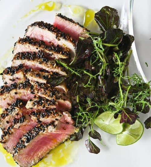 The Best Sesame Seared Tuna with Lime Ginger Vinaigrette