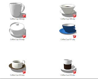 komponen cup coffe  sketchup download